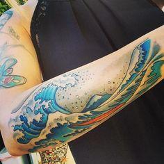 Colorful Wave Tattoo design by Jim Hayek