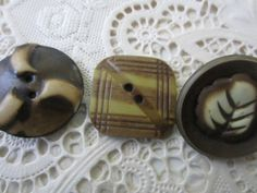 Vintage Buttons  Lot of 3 novelty carved by pillowtalkswf on Etsy, $5.95