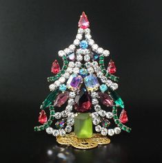 "Unique Czech Rhinestone Christmas Tree (Decoration) #627 - height: 3 3/4"" - multicolored"