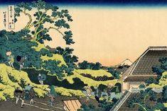 Sundai, Edo The Fuji seen from the Mishima Pass Katsushika Hokusai c. 1830 The fifth print of the series. During the Edo Period, Sundai was filled with the homes of the Shogun's retainers. Overlooking the city of Edo, a beautiful view of the mountain. Japanese Wall Art, Japanese Art Prints, Japanese Painting, Monte Fuji, Art Mural Japonais, Hokusai Paintings, Art Occidental, Katsushika Hokusai, Woodblock Print