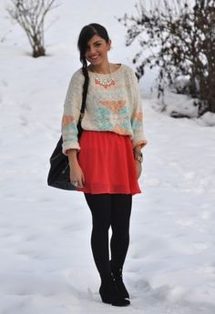 Mango  Sweaters, H  Skirts and Zara  Ankle Boots / Booties