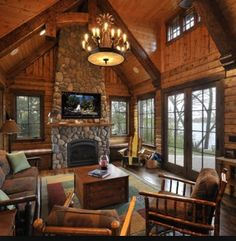 Rustic log home decor rustic cabin decor best log cabin homes images on rustic log home decorating ideas Log Cabin Living, Log Cabin Homes, Log Cabins, Mountain Living, Mountain Cabins, Cottage Living, Mountain Cabin Decor, Cabin Style Homes, Mountain Homes