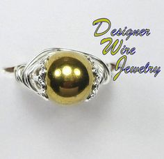 Lovely Natural Gold Hematite Artisan Silver Plate Wire Wrap Ring All Sizes