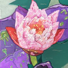 Meditative paintings from the water lily and lotus series based primarily on flowers found at Kenilworth Aquatic Gardens in Washington, D.C.