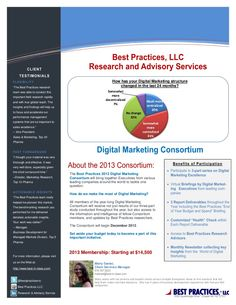 2013 Digital Marketing Consortium - Early Enrollment through December 31st (by Best Practices, LLC via Slideshare)