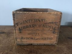 The International Library of Music for Home and Studio Vintage Wooden Advertising Crate, Wooden Box, Advertisement