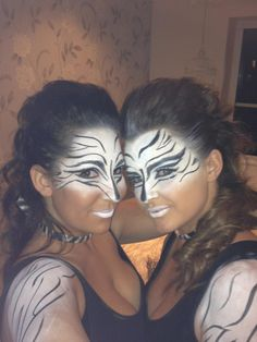 Zebra fancy dress hair and make up More