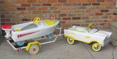 cgmfindings:  Pedal car and pedal boat on a trailer