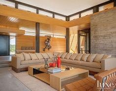 Custom Furniture in Light Brown Modern Living Room