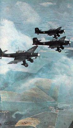 "Germany's Junkers Ju 87 ""Stuka"" dive bombers over Warsaw."