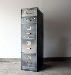 1930s Allsteel Stripped Filing Cabinet