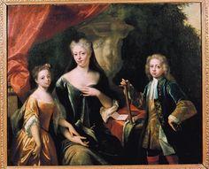 Maria Louise van Hessen-Kassel, prinses van Oranje (1688-1765), met haar kinderen prins Willem IV en prinses Amalia.    door: Philip van Dijk, 1725    Identificatie: A3008