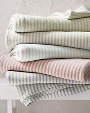 Cotton Ticking Stripe Blanket and Throw