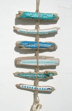 Painted Driftwood Tribal Patterned Wall Hanging Mobile In Blues With Rustic Bleached Shell Pieces, Rustic Boho Beach Totem Style Beach Art