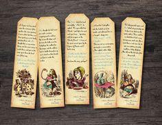 Printable Alice in Wonderland Printable Bookmark by RoseBonBonShop