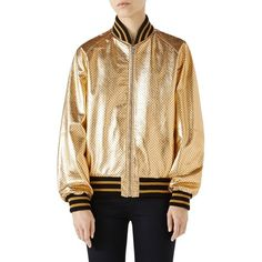 Women's Gucci Metallic Perforated Leather Bomber Jacket (124 315 UAH) ❤ liked on Polyvore featuring outerwear, jackets, metallic bomber jacket, leather jackets, perforated leather jacket, genuine leather bomber jacket and beige leather jacket