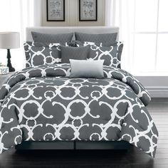 Rhys 7 Piece Comforter Set in Grey