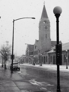 Downtown Cheyenne, Wyoming on a snowy morning. This is the clock tower at the train depot.