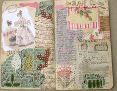 Art journal inspiration: new journal by pam garrison Art Journal Pages, Art Journals, Visual Journals, Bullet Journals, Journal Cards, Mixed Media Journal, Mixed Media Collage, Collage Art, Moleskine