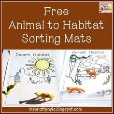 Free download, created for you to sort animals into different groups according to the habitats to which they belong. #science You will need plastic animals or small pictures of animals. This download only contains the sorting mats. Click here to see my