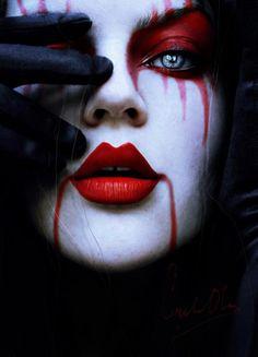 Karneval und Halloween-Make-Up-gruselig-Blinder Seher Vampir