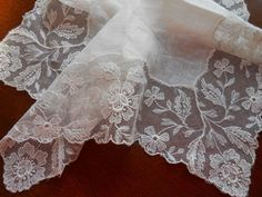 Antique Embroidered Net Lace Handkerchief