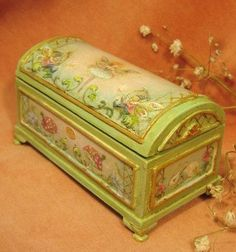 Jill Dianne- In Green or Soft Pink  - Fairy Pixie Trunk with Roses, Rabbits and Morning Glories - Dollhouse Miniature.. $385.00, via Etsy.