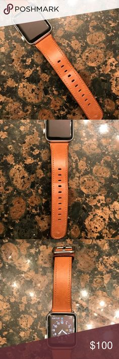 Leather Apple Watch Band Genuine leather band for 38mm Apple Watch. BOUGHT FROM THE APPLE STORE (not a third party brand). Got this 3 months ago. It's barely been used. Will come to you in the original box. Selling the watch band only. apple Accessories Watches