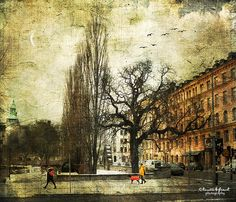 Walking the dog by Kerstin Frank art, via Flickr