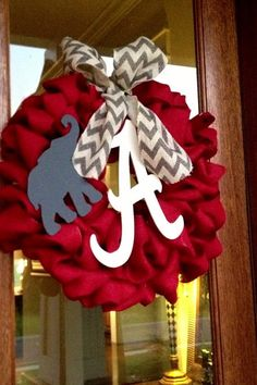 Red Burlap Wreath With Grey Burlap Chevron Bow - Alabama, Roll Tide, Game Day  College Football SEC