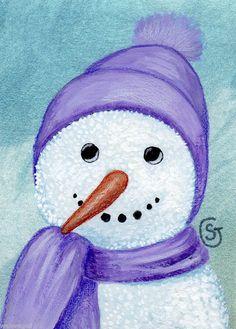 Snowman+Watercolor+Painting+Winter+Snow+Lavender+White+Original+ACEO+ART+Goeben++#Realism