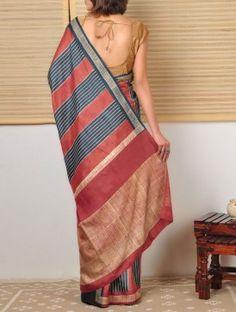 Block Printed Tussar Saree - Stripes