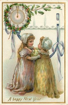 A HAPPY NEW YEAR  two young girls embrace, clock upper left, violet ribbon