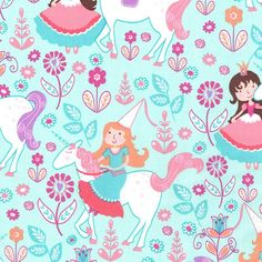 Fat Quarter Unicorn Princess Seafoam Cotton by Petestreasuretrove