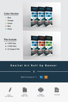 This roll-up banner can be used for all business purposes. Here are 5 PSD files and 5 EPS files. PSP files are made by layer and EPS file swatch color. Psd Templates, Wordpress Theme, Design Bundles, Banners, Cool Designs, Digital Art, Web Design, Backgrounds, Photoshop