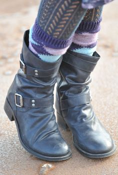 Biker Boots + textured tights + argyle socks.