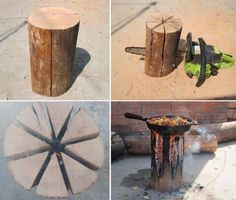 turn a log into a stove. what a great idea!!!!!!!!!!!