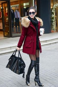 Fashion Autumn Warm Winter Jackets Women Fur Collar Long Parka Plus Size lapel Casual Cotton Womens Outwear Park Plus size - Winter women jacket - Jackets Comfy Fall Outfits, Stylish Outfits, Cool Outfits, Fashion Outfits, Fashion Clothes, Girly Outfits, Fashion Ideas, Winter Jackets Women, Coats For Women