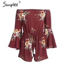 07f4263674 Ladies off the Shoulder Floral Print Playsuit Hijab Outfit