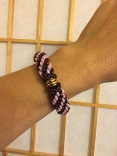 Tubular peyote bracelet using super duo beads.
