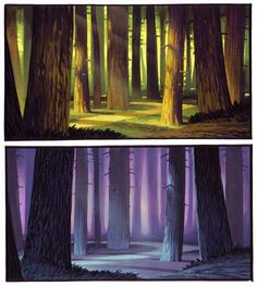 One of the things I looove about concept art--seeing the same setting with different lighting and colors. It changes the mood of the scene so much!