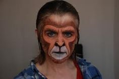 stylized monkey makeup for a play about composer Eric Satie. Animal Face Paintings, Animal Faces, Monkey Makeup, Monkey Face Paint, Show Makeup, Makeup Class, Children Of Eden, Halloween Costumes For Teens Girls, Monkey Costumes