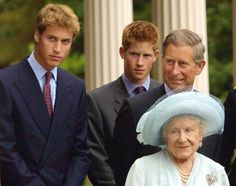 Prince William, Prince Harry and Prince Charles appear with The Queen Mother during celebrations to mark her 101st birthday August 4, 2001 in London. Prince William will celebrate his 21st birthday on June 21, 2003.