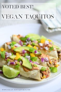 If you're searching for vegan taco recipes - stop! This is a winner. This vegan dinner recipe is so quick and easy, it's ready in less than 30 minutes - and it tastes absolutely amazing! You and your family are all gonna love these vegan taquitos! #veganrecipes #veganfood #recipeoftheday #veganblogger #blogpost