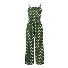 Simplee Spaghetti strap polka dot vintage jumpsuit women Sash high waist casual  jumpsuit Wide leg summer jumpsuit plus size 2018 727cb92a2308