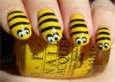 Cool Nail Design Ideas: Cool Yellow Black Bee Acrylic Nail Designs ~ Nail Ideas Inspiration