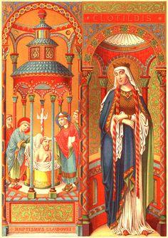 Sainte Clotilde et le Baptême de Clovis par saint Rémi à Reims en 496.
