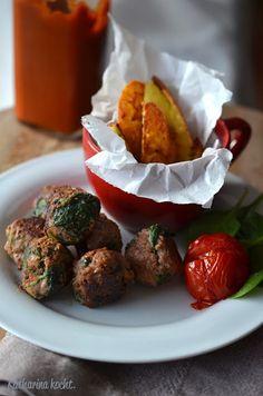 Fleischbällchen mit Spinat, Knoblauch und Lauchzwiebeln