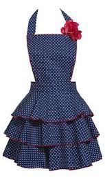 Navy blue polka dot with red trim
