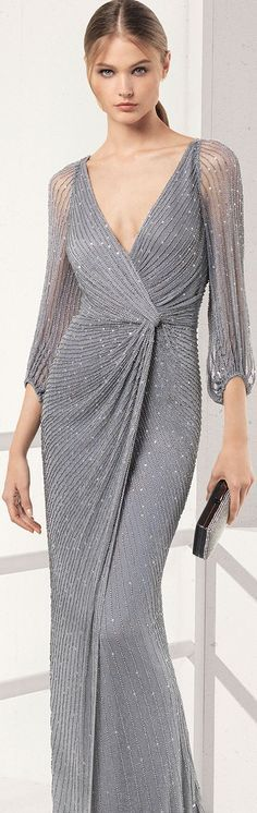 Long nice dress Inspiring Ladies is part of Dresses - Elegant Dresses, Nice Dresses, Formal Dresses, Ladies Dresses, Grey Fashion, Look Fashion, Mode Style, Beautiful Gowns, Couture Fashion